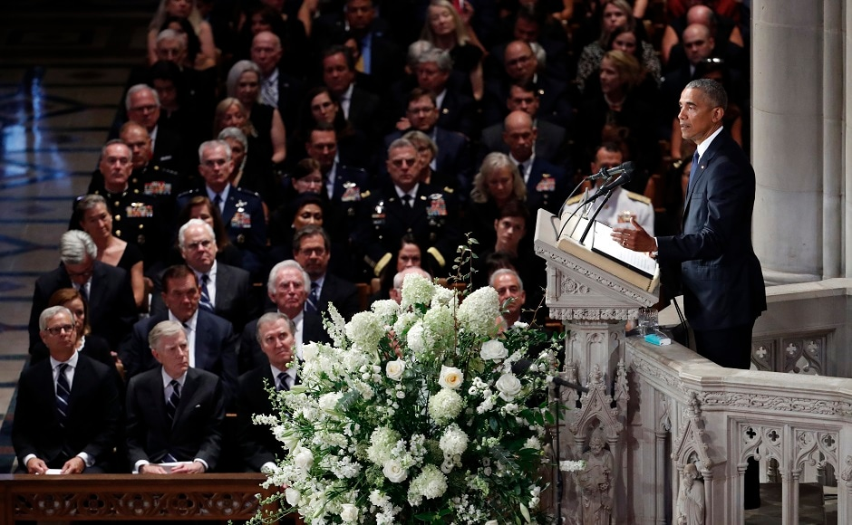 """Obama also said that McCain, who battled fiercely but respectfully in the political arena, """"made us better presidents - just as he made the Senate better, just as he made the country better."""" AP"""