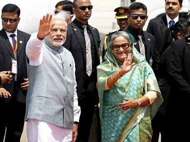 Prime Minister Narendra Modi with Bangladesh's prime minister Sheikh Hasina. Reuters