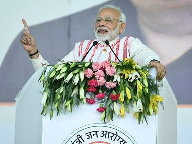 Prime Minister Narendra Modi addresses the gathering at launch of PMJAY. Twitter @PIB_India