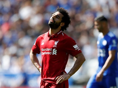 "Soccer Football - Premier League - Leicester City v Liverpool - King Power Stadium, Leicester, Britain - September 1, 2018 Liverpool's Mohamed Salah reacts Action Images via Reuters/Carl Recine EDITORIAL USE ONLY. No use with unauthorized audio, video, data, fixture lists, club/league logos or ""live"" services. Online in-match use limited to 75 images, no video emulation. No use in betting, games or single club/league/player publications. Please contact your account representative for further details. - RC11D31DABC0"