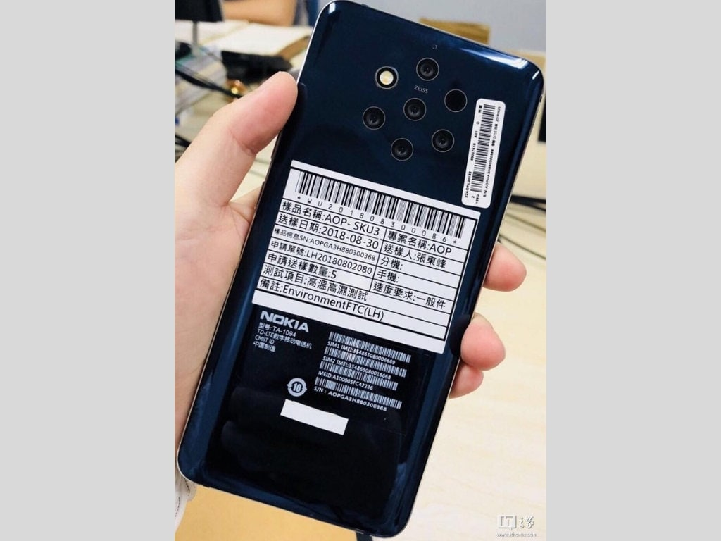 Nokia 9 leaked image reveals oddly placed five camera setup at the back