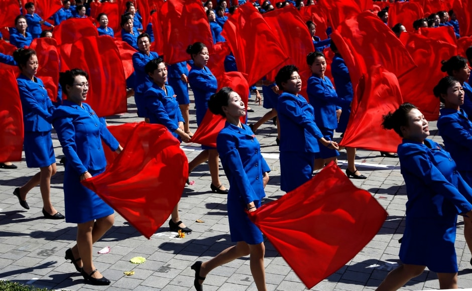 Performers take part in a parade for the 70th anniversary of North Korea's founding day. The nation also celebrated the revival of its iconic mass games after a five-year hiatus through huge rallies. AP