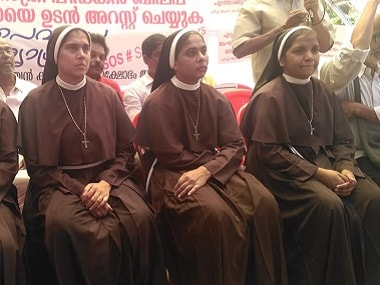 Nuns on protest in Kottayam, Kerala, seeking Jalandhar Bishop Mulakkal's arrest for rape. Firstpost/TK Devasia