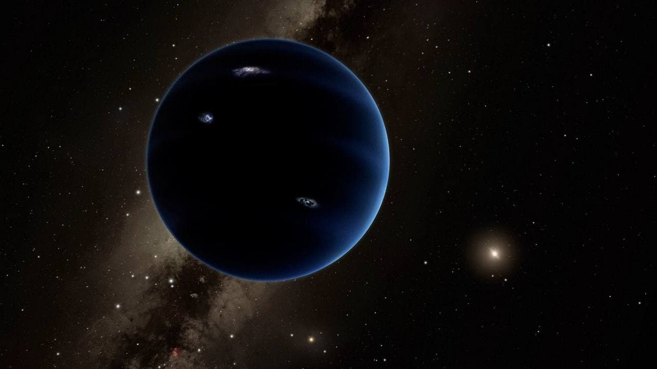 This artistic rendering shows the distant view from Planet Nine back towards the sun. The planet is thought to be gaseous, similar to Uranus and Neptune. Hypothetical lightning lights up the night side. Image: Caltech