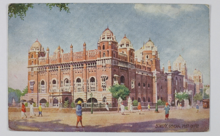 The exhibition begins with the presentation of the Presidency states followed by the postcards in Ceylon. The display also includes mythological, allegorical works of Ravi Varma, artistic renditions of MV Dhurandar and popular images from the hills stations of Shimla and Ooty. This picture postcard shows the Post Office in the erstwhile Bombay and belongs to a section devoted to the images of Mumbai. The Omar Khan Collection and The Alkazi Collection of Photography/ Dr Bhau Daji Lad Museum