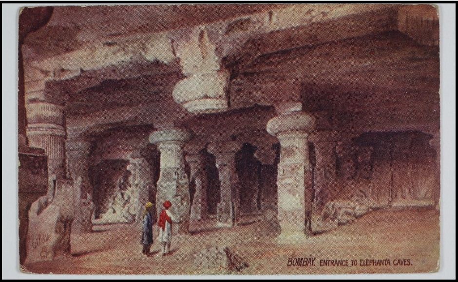 This postcard features the entrance to the Elephanta Caves, a popular tourist destination in Mumbai. The exhibit Paper Jewels, housed in the city's celebrated museum has on display several other postcards created by Raphael Tuck & Sons, employed in service of the Majesties, The King and Queen of England. The Omar Khan Collection and The Alkazi Collection of Photography/ Dr Bhau Daji Lad Museum