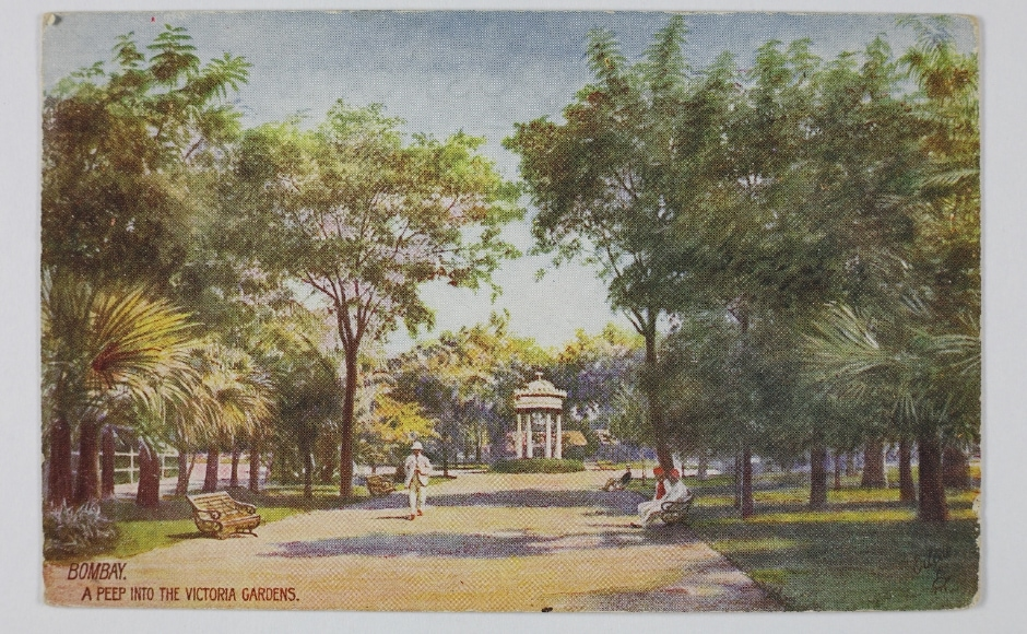 'A Peep into the Victoria Gardens,' is yet another depiction of the city of Bombay which functioned as a crucial Presidency during the British Raj. The very nature of these picture postcards was international in such that a photograph was sent to Dresden by a publisher, postcards were struck from it by a printer and shipped back to Jaipur, then sold outside the Hawa Mahal to a tourist who later mailed it from Mumbai to London. The Omar Khan Collection and The Alkazi Collection of Photography/ Dr Bhau Daji Lad Museum