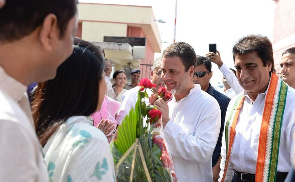 Congress president Rahul Gandhi arrived at Lucknow airport on Monday before heading to his constituency in Amethi. He was greeted by several Congress leaders at the airport. Twitter/@INCIndia