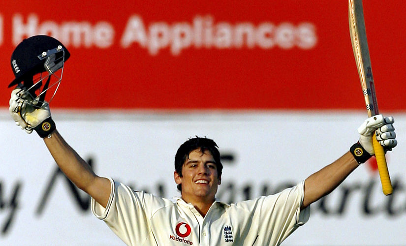 England's Alastair Cook celebrates after completing his century in the second innings on the fourth day of the first cricket test match between India and England in Nagpur, India March 4, 2006. REUTERS/Adnan Abidi - GM1DSBXRXMAA