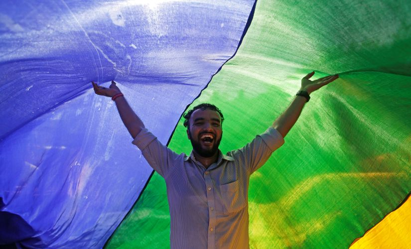 A supporter of the lesbian, gay, bisexual and transgender (LGBT) community holds a rainbow flag as he celebrates after the Supreme Court's verdict of decriminalizing gay sex and revocation of the Section 377 law, during a march in Mumbai. Reuters/Francis Mascarenhas
