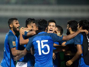 Indian football team members celebrate victory. Twitter: @IndianFootball