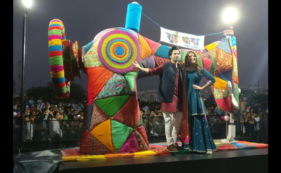 The makers put up a giant sewing machine at Connaught Place in Delhi to salute the rich and diverse tradition of art and crafts that India is known for across the world