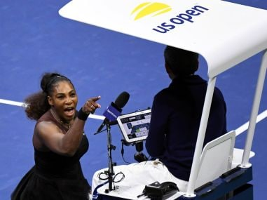 Serena Williams yells at chair umpire Carlos Ramos during the women's final. Reuters