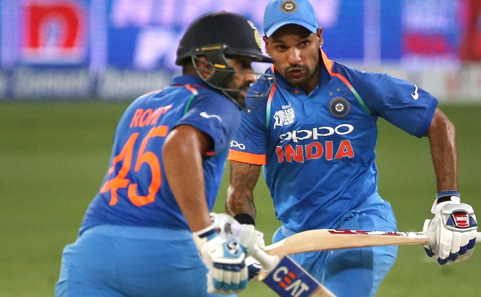 The opening pair scored 210 runs in their partnership, before Shikhar Dhawan was run out. Ambati Rayudu came on, scoring 12 runs as India cruised to victory over Pakistan. AP