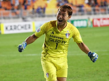 Goalkeeper Shin Hwa-yong saved three penalties as Suwon Bluewings reached the AFC Champions League semi-finals. AFP