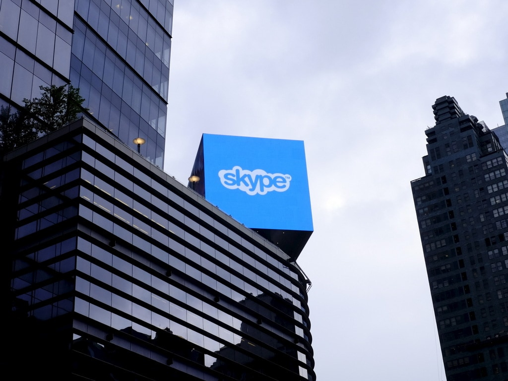 An advertisement for Skype seen in New York. Image: Reuters