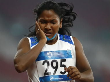 Swapna Barman became the first Indian to win heptathlon gold at the Asian Games. AP