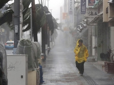 Heavy rain and wind caused by Typhoon Trami batter Okinawa. Reuters