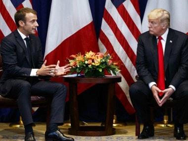 File image of Donald Trump and Emmanuel Macron. AP