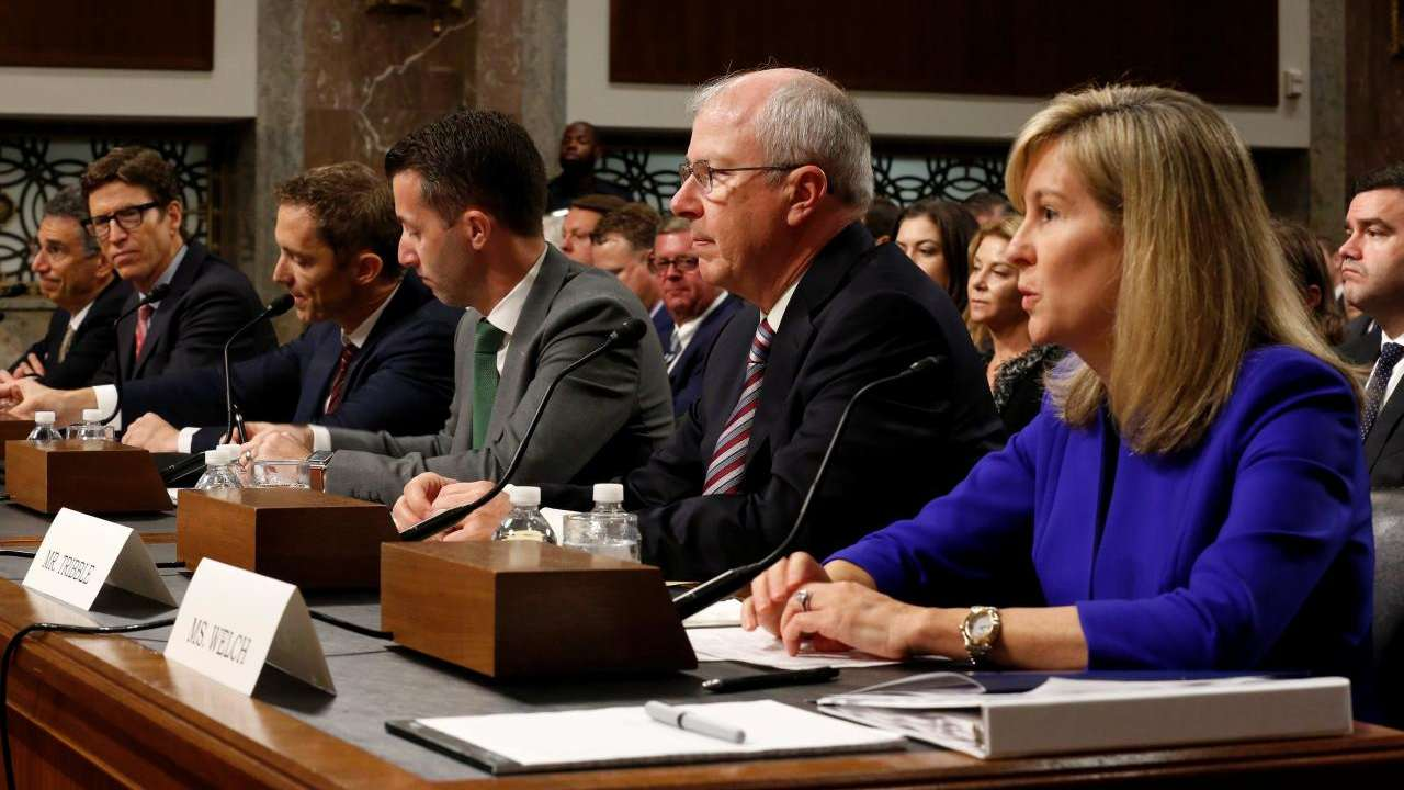 Len Cali, AT&T; Andrew DeVore, Amazon; Keith Enright, Google; Damien Kieran, Twitter; Guy Tribble, Apple; and Rachel Welch, Charter Communications, testify before the Senate Commerce, Science and Transportation Committee. Image: Reuters