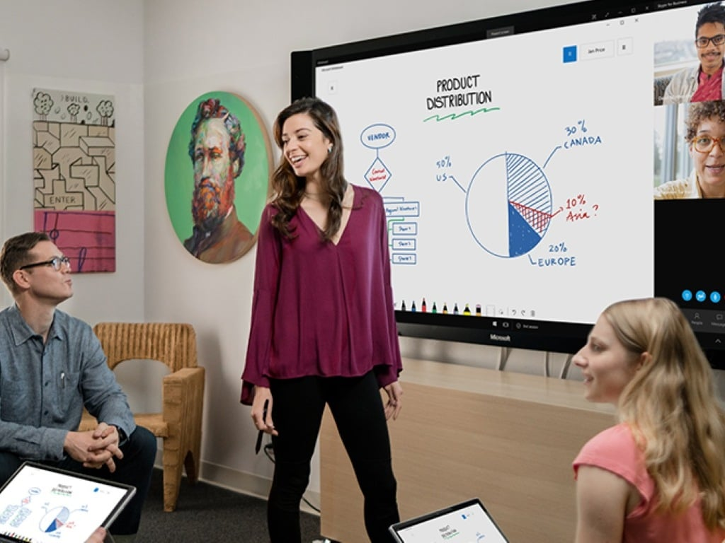 Whiteboard is now available for iOS users. Image: Microsoft Blog