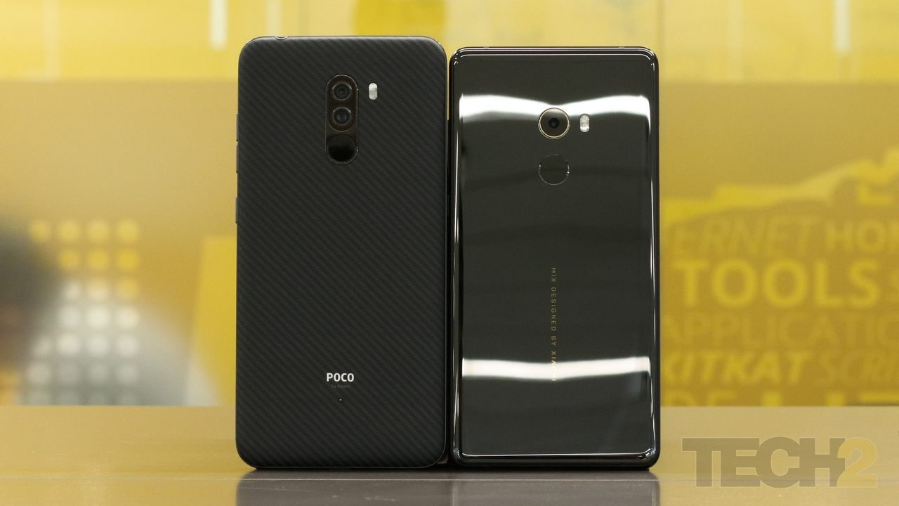 The Xiaomi Poco F1 alongside the Mi Mix 2. Image: tech2/ Prannoy Palav