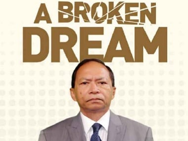A section of the front cover of SK Sinha's book 'A Broken Dream'