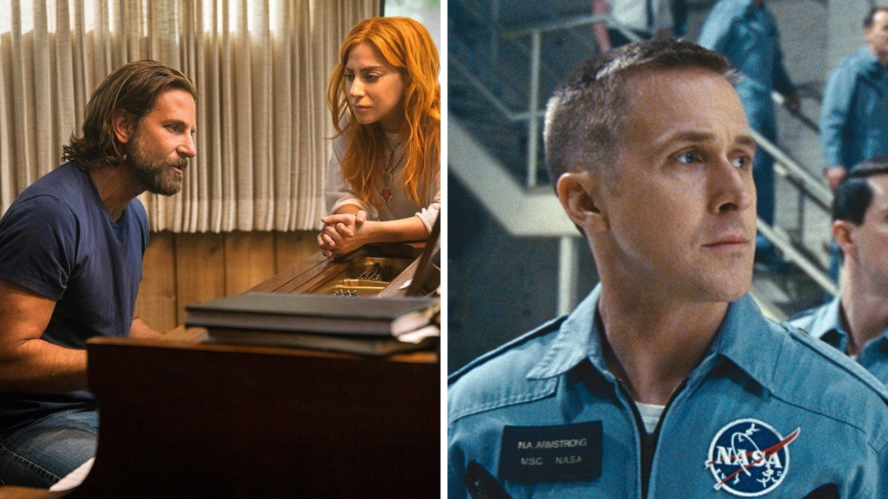 A still from Star Is Born; First Man. Images via Twitter