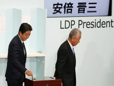 Japan's Prime Minister Shinzo Abe, votes for the ruling party leadership election. Reuters