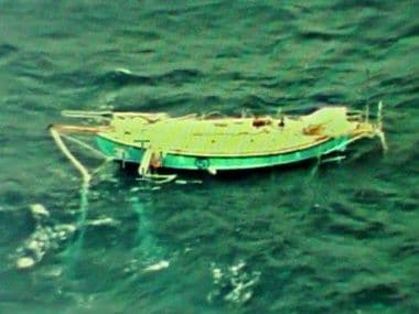 Abhilash Tomy's damaged yatch stranded in Indian Ocean. Image courtesy: Twitter/ @indiannavy