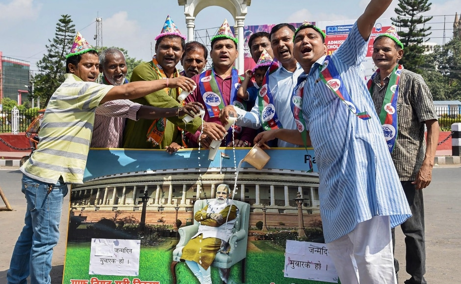 Bihar chief minister Nitish Kumar greeted the prime minister on Twitter, where he wished for Modi's good health and long life. In Patna, National Democratic Alliance supporters poured milk on a portrait of Modi to celebrate the day. PTI