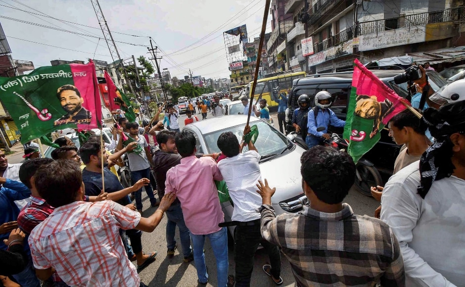 In Patna, Jan Adhikar Party supporters vandalised vehicles during the Bharat Bandh called to protest fuel price hikes and the depreciation of the Indian rupee. PTI