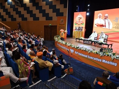 Narendra Modi addressing BJP leaders at the party's national executive meet.
