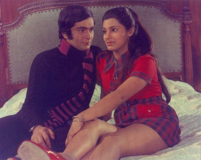 Rishi Kapoor and Dimple Kapadia in a still from Bobby