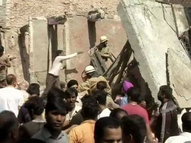 A three-storey building collapsed near Sawan Park in Delhi's Ashok Vihar. ANI