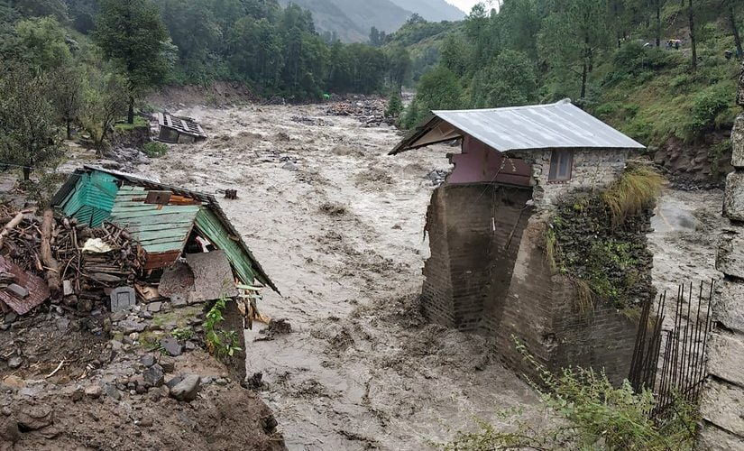 A swollen Beas river flows after heavy rains in Kullu, Himachal Pradesh. PTI