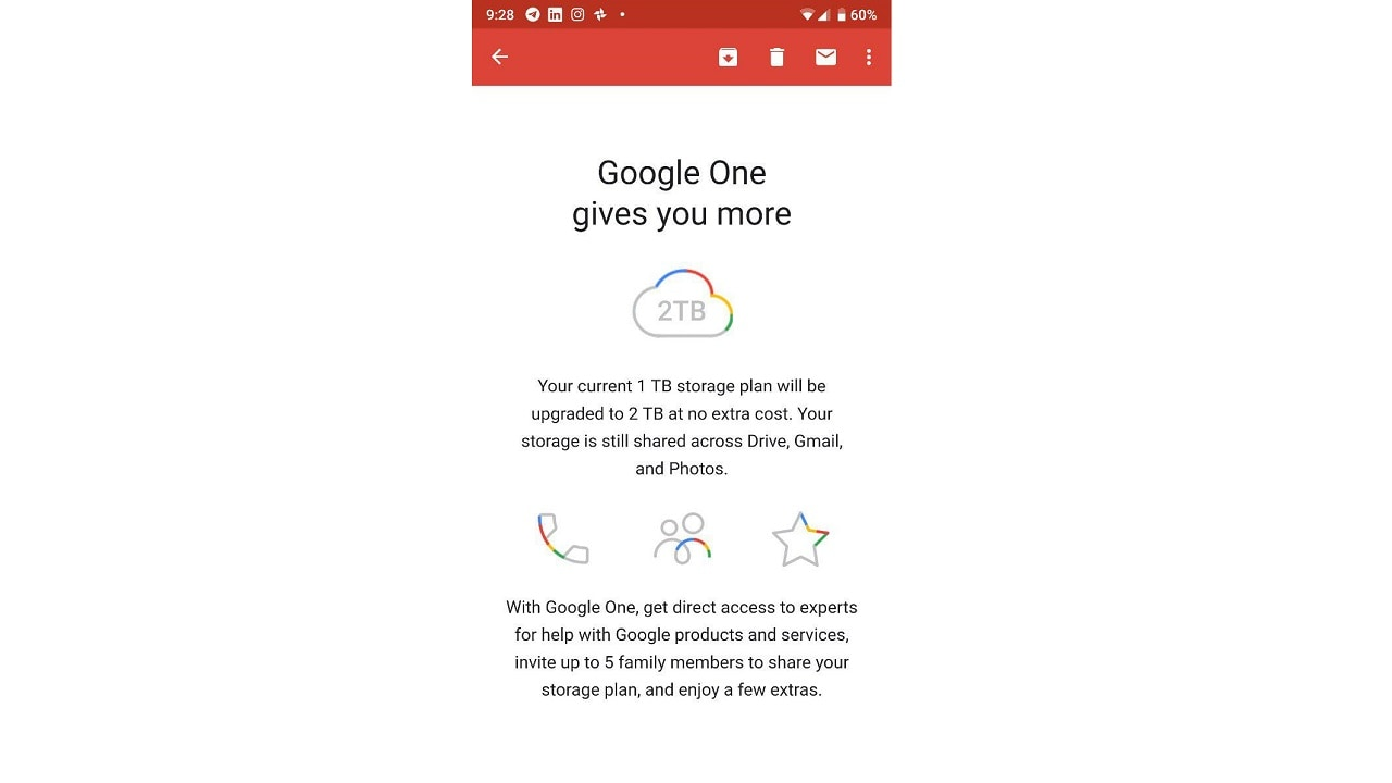 Google One email being sent out to users in India. Image: Tech2