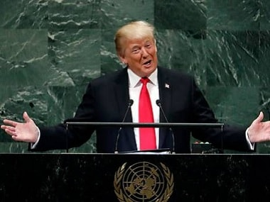 File photo of US president Donald Trump at UNGA. AP