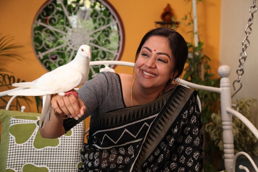 Jyothika in a still from Kaatrin Mozhi