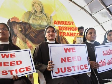 Nuns protesting in Kochi against the delay in action against Franco Mulakkal .PTI