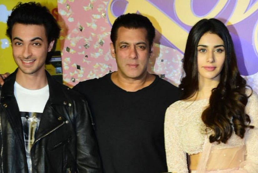 Aayush Sharma, Salman Khan and Warina Hussain of Loveratri. Image via Twitter/@News18