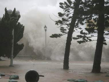 High waves hit the shore as Typhoon Mangkhut nears China. Reuters