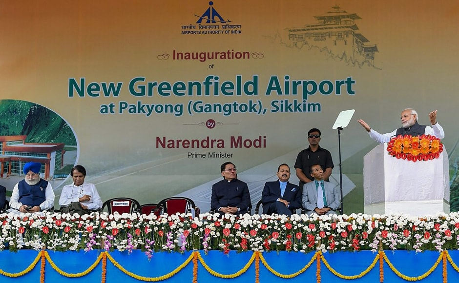 Narendra Modi said that with the inauguration of the New Greenfield Airport in Pakyong, the country currently has 100 functional airports.