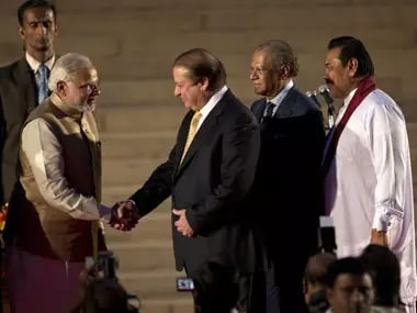 Narendra Modi, Nawaz Sharif and Mahinda Rajapakse at the former's swearing-in ceremony in May 2014. PTI