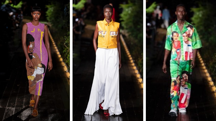 Pyer Moss's presentation saw only Black models walking the ramp. Twitter