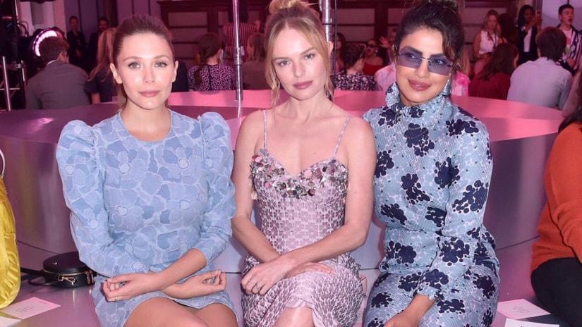 Elizabeth Olsen, Kate Bosworth and Priyanka Chopra at Kate Spade's tribute show. Twitter
