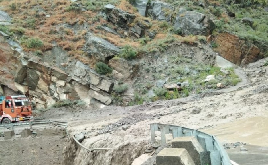 Due to lanslides in Kinnaur district, roads were blocked in Wangtu and Tapti area. According to officials, restoration work is underway. ANI/Twitter