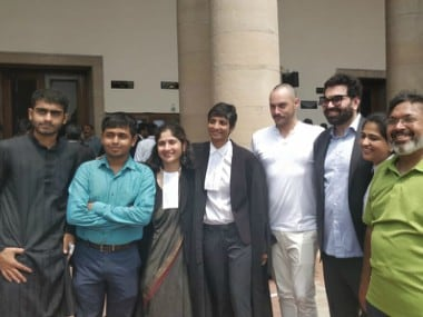 The petitioners in the Section 377 matter outside the Supreme Court with advocates Menaka Guruswamy and Arundhati Katju. Twitter @barandbench