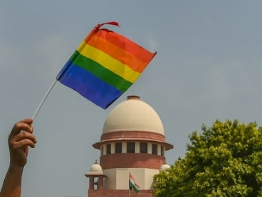 An activist waves a rainbow flag (LGBT pride flag) after the Supreme Court verdict which decriminalises consensual gay sex. PTI