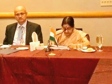 Sushma Swaraj at SAARC meeting. Twitter/@MEAIndia